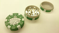 Green Poker Chip Style Grinder Tobacco Herb Spice Crusher 3 Layers Casino