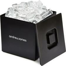 Andrew James Square Black Ice Bucket With Lid Double Walled Insulated 3 Litre