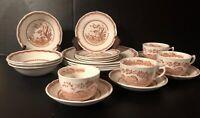 20 Piece Set FURNIVALS QUAIL BROWN Plates, Bowls, Bread Plates Cups & Saucers