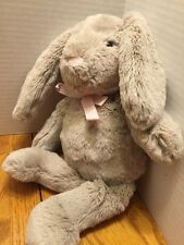 Pottery Barn Kids Gray Plush Bunny Rabbit Pink Ears and Bow Soft PBK