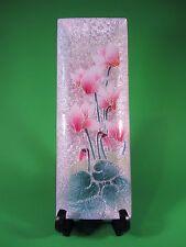 Tutanka Cloisonne Tray with Pink Cyclamen Floral Design Rectangular Metal Euc