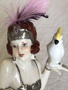 Vintage Porcelain Half Doll Flapper w/ Cockatoo & Costume French/ Germany 0805