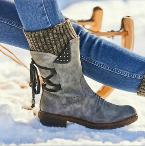 Winter Warm Plus Size Women Boot Casual Faux Leather Side Zip Round Toe Bootie