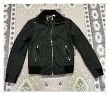 ENERGIE Men's GOLD Jacket Coat Fitted Black Biker Leather Sz S