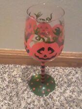 "Halloween Jack-o-Lantern Pumpkins Faces Clear Wine Glass Decoration 9"" Tall"
