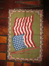 """Vintage Antique Cigar Box Tobacco Flannel Felt Usa 48 Star Flag 12"""" x 8"""""""