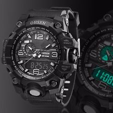 OHSEN Mens Sport Military Analog Digital Stainless Steel Quartz Wrist Watch Gift