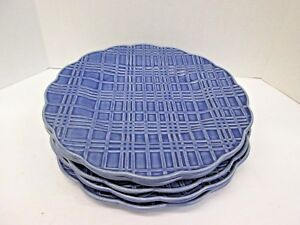 BORDALLO PINHEIRO BLUE Checked Scalloped BP 133 Service plate SET OF 5 Wedding