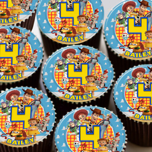TOY STORY BIRTHDAY PARTY PERSONALISED EDIBLE ICING CUPCAKE TOPPER 105