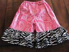 Zebra / pink paisley Big Ruffle Pants Size 12 Months EUC