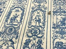 Vintage French Blue Toile / fabric in cotton, 1950s. Toile bleue ancienne.