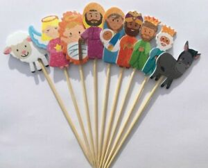9 Piece Sparkling Christmas Nativity Cocktail Stick Stirrers Cake Toppers Party