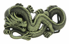 Asian Chinese Dragon Bronze Plated Metal Belt Buckle