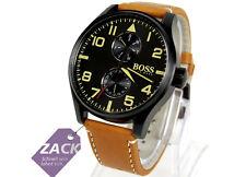 HUGO BOSS Herren Uhr Armbanduhr 1513082 braun cognac beige, Leder* Batterie leer