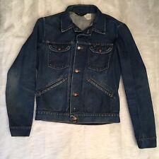 Mens Wrangler Jean Jacket Blue Denim Brass Button Vintage Trucker Style Size L