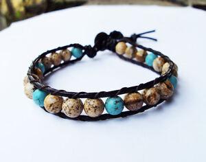 Jasper Bracelets,Turquoise bracelets,Leather bracelets,Men bracelets,6mm stone