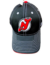 New Jersey Devils Baseball Hat Cap Black And Red Adjustable Style Nwt