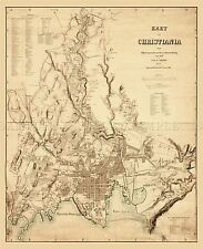 MAP ANTIQUE1861 NAESER CHRISTIANIA OSLO NORWAY LARGE REPRO POSTER PRINT PAM1354