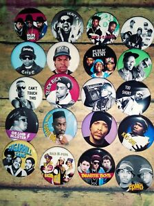 """80s Rappers Band button set, Lot of 20-1.25"""" 80s Rap Band buttons pins"""