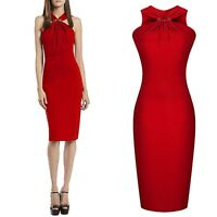 UK Size 10 Red Silk-Blended Knee-length Sleeveless Bodycon Stretch Sexy Dress