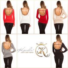 Feinstrick-Pullover mit Kunstfell mit Sexy Rückenausschnitt
