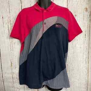 BOSS HUGO BOSS MEN XXL Pink Gray Polo Shirt Short Sleeve Regular Fit Collared