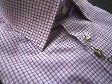 $265 NWT Ike Behar New York Luxury Lilac Check Purple Dress Shirt 15.5 LS 32/33