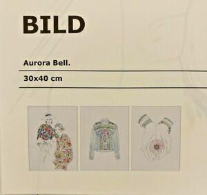 Ikea Prints Wall Decor Set of 3 Art  Aurora Bell Blue Pink White Fashion Bild