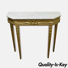 33h x 36w  Vintage French Louis XVI Style Gold Wooden & Marble Top Console Table