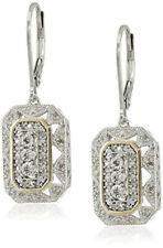 Women's 14k Yellow Gold/925 Silver white Pendant Art Deco Style Drop Earrings