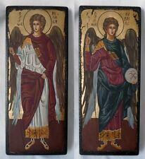 """2 handgemalte Ikonen je 31,5x12,5cm """"Hl. Gabriel + Michael""""  aus Griechenland"""