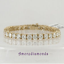 24 CT F I1/I2 IDEAL CUT NATURAL DIAMOND TENNIS BRACELET 14K YELLOW GOLD 7 INCHES