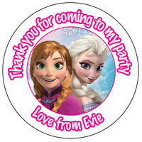35 x Personalised Frozen Elsa & Anna Birthday Stickers Party Bag Thank You -229