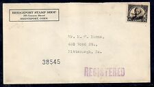 1931 Registered Stamp Shop Cover - Bridgeport, Conn to Pittsburg - Scott 623