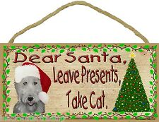 "Dear Santa Leave Presents Take Cat Labradoodle Christmas Dog Sign Plaque 5""x10"""