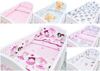 6PC BABY NURSERY BEDDING SET BUMPER ALLROUND PILLOW DUVET FIT COT 120x60cm