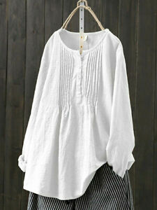 Summer Women Cotton Linen Tops Blouse Ladies Baggy Long Sleeve T-Shirt Plus Size