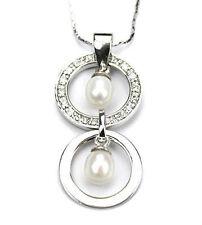 Fresh water pearl pendant in cubic zirconia/sterling silver PDT040016