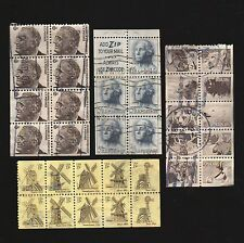4 canceled booklet pages USA postage stamps Scott 1889a, 1742a, 1213c, 1258b lot