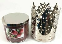 Slatkin & Co Bath & Body Works 14.5 oz Frosted Cranberry + Silver Candle Holder