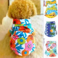 Pet Dog Clothes Hawaiian Summer T-Shirt Apparel Puppy Cat Beachwear XS S M L XL