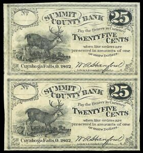 1862 TWO UNCUT NOTES 25 CENTS CUYAHOGA FALLS, OHIO W.A. HANFORD AT SUMMIT COUNTY