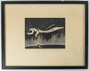 """Rockwell Kent Wood Engraving """"God-Speed"""" Pencil Signed Dated Personalized Print"""