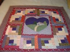 "AMISH BURGANDY-BLUE "" LOG CABIN HEART"" WALLHANGING QUILT 41""- 41"""