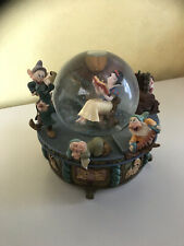 More details for walt disney snow white and the seven dwarfs reading a book musical snow-globe