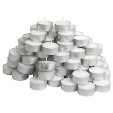 50 Tea Lights Set White Unscented Candles 4.5 hours Travel candles