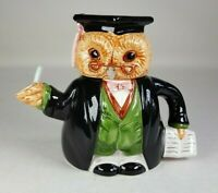 Vintage Porcelain Graduation Owl Novelty Collectable Teapot