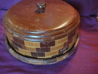 Vtg 1940s 1950s California Redwood Covered Cake Plate Bread Warmer Serving Dish