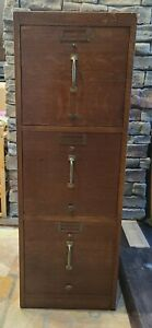 Antique Hobart Oak 3-Drawer File Cabinet |  1930s | Cherry Finish