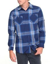 Akademiks Mens Blue Large Plaid Mercer Lightweight Long Sleeve Button Down Shirt